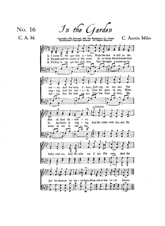 Epic image pertaining to in the garden hymn printable