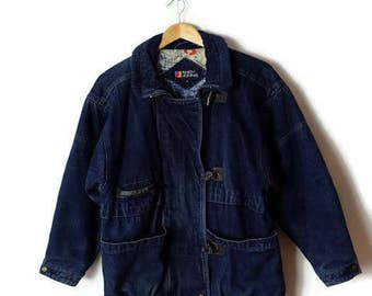 Vintage Denim Zip up lined  Duffle Coat /Jacket from 1980's*