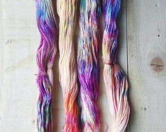 Handpainted  baby alpaca and silk yarn/ Hand painted yarn/ Hand dyed yarn