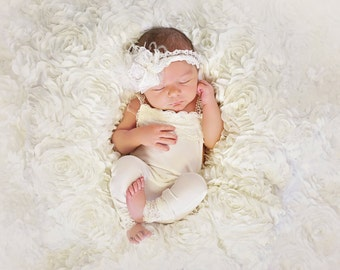 Sale!!  Lace Newborn Romper photo prop with matching headband