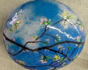 Cherry Blossoms hand painted Art Rock