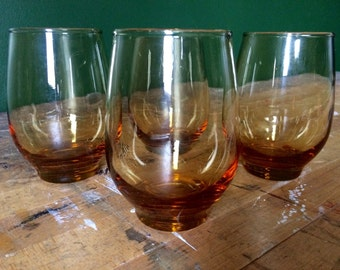 Set of Four Vintage Amber Libbey Roly Poly / Drinking Glasses Retro Glassware