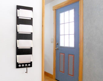 WALL MAIL ORGANIZER: 4 Slot Mail Holder with Key Hooks for Office Home Organization, Wall Mount Modern Black Minimal Mail Organizer