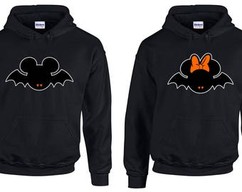 Halloween, Disney Mickey and Minnie Vampire Bats Couples Matching Romantic Hoodies