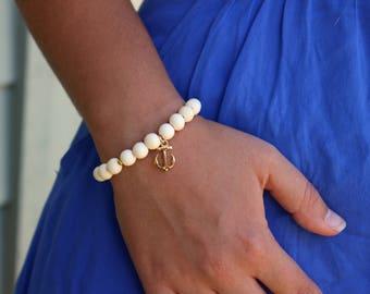 Matte Whitewood Anchor Charm Bracelet, Travel Beaded Bracelet, Stacking Bracelet, Nautical Jewelry, Study Abroad Gift, Wander