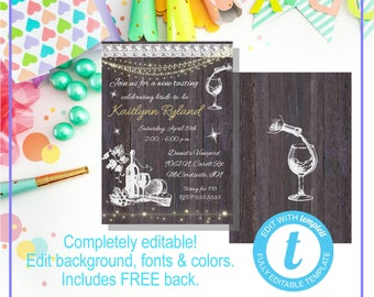 Templett Digital Editable Rustic Wine Tasting Bridal Shower Birthday Invitation, Printable Template, Instant Download w/ Back Hens Night