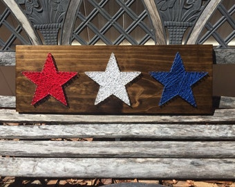 MADE TO ORDER - 3 Star Patriotic String Art Wooden Board