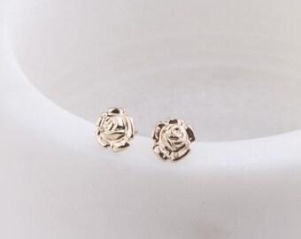 Gold Rose Stud Earrings, Minimal, Everyday Earrings, Gift Under 30, Gift for Her, Delicate Rose Flower Gold Studs, Valentine's Day Gift