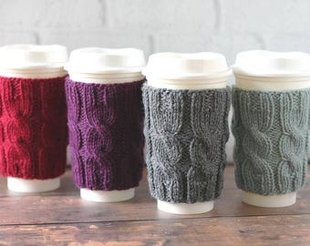 Knit Coffee Cozy, Coffee Sleeve, Cup Sleeve, Mother's Day Gift, Teacher Gift, Bridesmaid Gift, Cabled Coffee Cup Cozy, Reusable Coffee Cozy