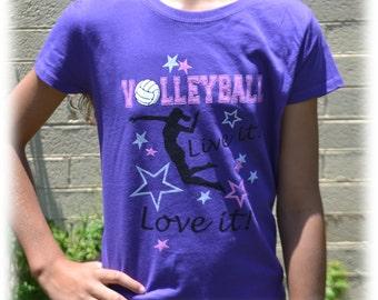 Girls Volleyball Shirt - Volleyball Gift - Volleyball tShirt Purple Live it! Love it! - Volleyball Mom - Volleyball Team - Beach Volleyball