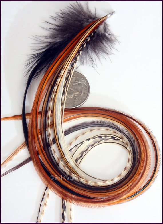 Extra Long Wide Feather Hair Extension Diy Kit Earthy
