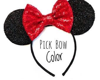 Custom Mickey Ears Headband, Custom Minnie Ears , Mouse Sparkly Ears Headband, Costume Mouse Ears, Sparkle Ears , Red Girls Minnie Headband
