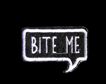 """1.8"""" Comic book word bubble BITE ME sew on IRON on patch Embroidered applique motif"""