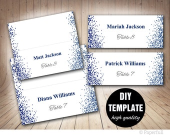 Wedding Placecard Template, Printable Blue Place cards, Navy Blue Wedding Placecards Template, Confetti Wedding Place cards