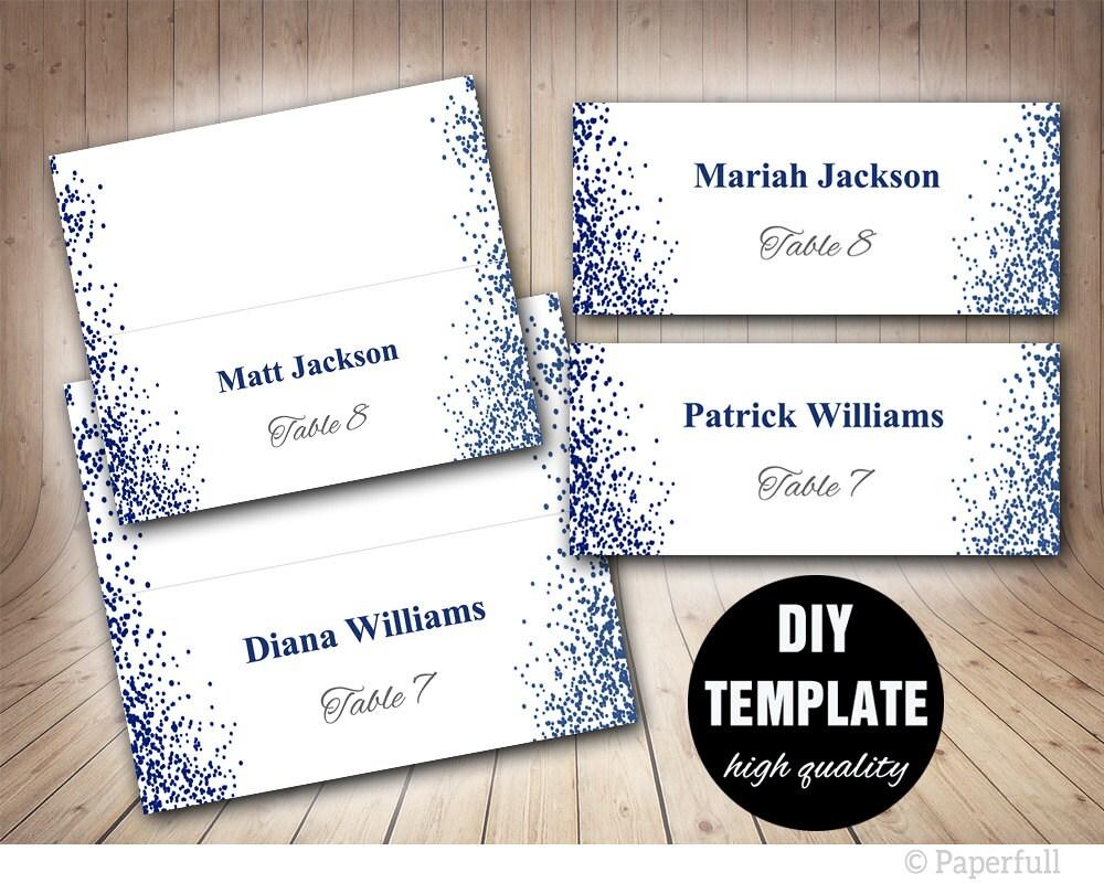 Hochzeit Placecard Vorlage druckbare blau Tischkarten Navy
