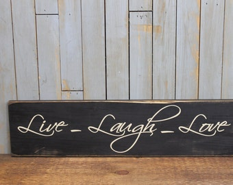 """Wooden sign """"Live Laugh Love"""" wedding gift love quote"""