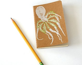 Octopus Moleskine Pocket Journal. Sea Life Journal. Hand-stamped cahier. Gifts for her. Easter gift. Travel journal. Writing journal. Book.