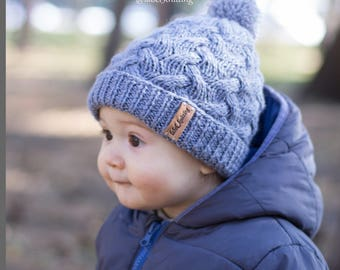 Baby knit hat Pom pom hat knit winter hat baby boy hat Wool hat