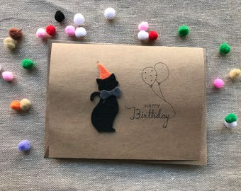 Orange bowtie Cat birthday card made of Felt and kraft paper