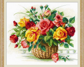 Basket With Roses cross stitch kit by RIOLIS Ref. no.: 1722