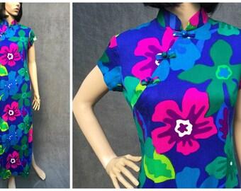 60's Liberty House by Sydney Hawaiian Polynesian Aloha Maxi Dress - Vintage 12