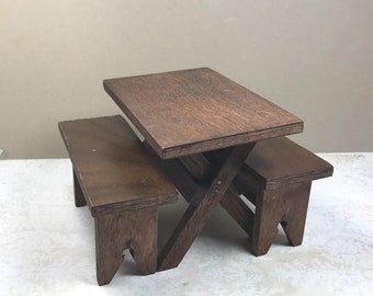 MINIATURE TABLE and BENCHES, Wood, Over Sized 1:12 Scale, Vintage Dollhouse, Doll Furniture