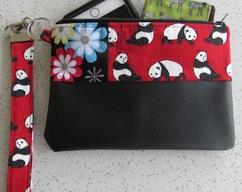 Key Fob Wristlet - Red Panda Clutch - Black Vegan Leather Bag