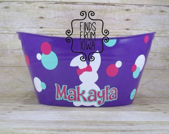 Personalized Girl Custom Easter Bucket with bunny with a bow