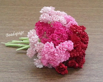 Miniature Flowers Sweet Petite Bouquet Red Pink Flowers for 1:12 scale ~ 1/6 scale Dollhouse Diorama decoration DIY Craft Scrapbooking