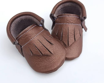 Baby Shoes  - Metallic Bronze moccs - toddler shoes - moccasins - soft sole baby shoes - crib shoes - baby booties - baby shower gift
