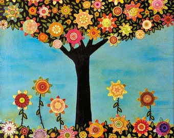 Collage painting, Bohemian, Mixed Media Tree, Abstract Painting, Art Print on Wood