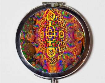 Fractal Geometric Compact Mirror -  Psychedelic Surreal Trippy - Make Up Pocket Mirror for Cosmetics