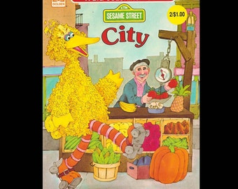 Sesame Street City - Vintage Coloring Book c. 1982
