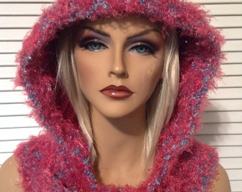 Fuchsia Hood with Pink and Turquoise Trim
