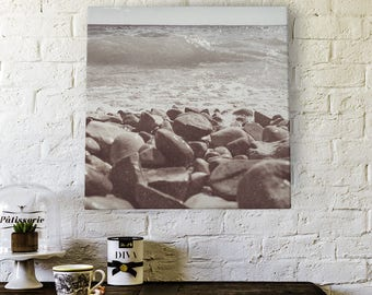 Where Rocks and Water Meet Photography by Misty Diller -  Gallery Wrapped Canvas | Photo Decor | Canvas | Wall Art | Photo Canvas | Sepia