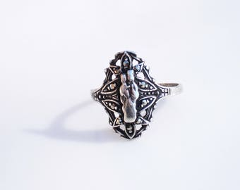 Art Deco Sterling Silver Ring - Madonna & Child with Marcasites, Size 7.5