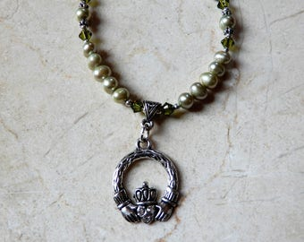 Silver Celtic Irish Claddagh Necklace with Green pearls and Swarovski crystals