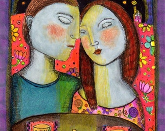 original mixed media colorful couple love moonlight flowers teapot