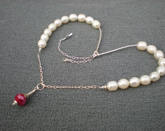 Snow White necklace, one of a kind, pearl, sterling silver, red quartz, unique jewelry by Grey Girl Designs on Etsy