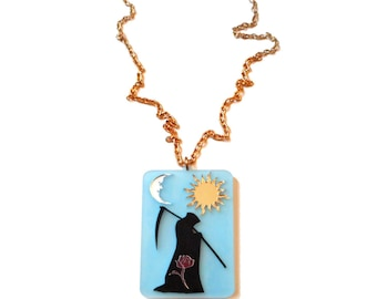Long DEATH CARD Pendant Necklace with Gold Chain / Grim Reaper / Witchy / Acrylic Tarot Card Jewelry