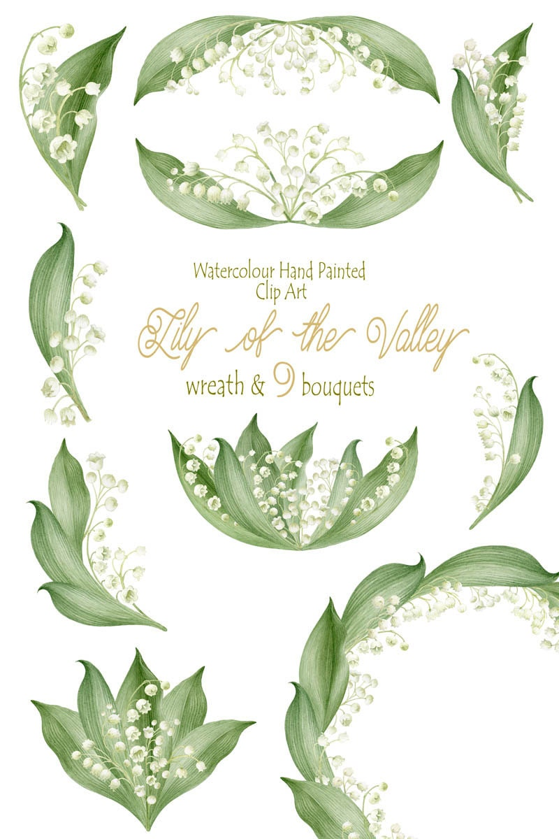 Flower Clipart, Watercolour Hand Painted Lily of the valley, Wreath ...