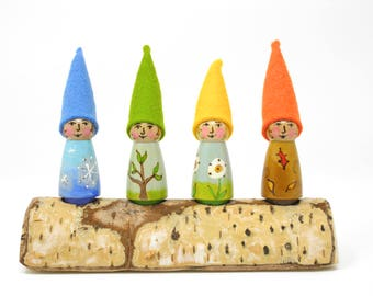 Seasonal Gnomes set of 4 with wooden birch base, wooden peg dolls, kids toy, , gnome toy, nature table, handmade kids toy, educational toy