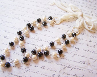 Black and White Layered Glass Pearl Ribbon Statement Necklace  / Gift for Her