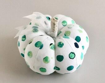 Cute Blue and Green Polka Dot Cotton Pumpkin Pincushion