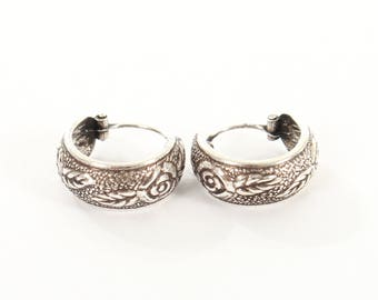 Sterling Silver Oxidised Hooped Small Earrings With A Rose Design