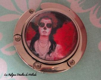 Red Calavera melon silver handbag