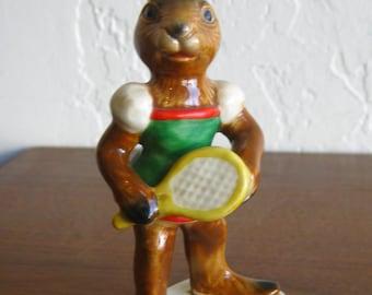 Vintage Goebel Tennis Player Bunny Rabbit German Porcelain Figurine