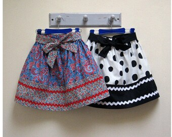 Easy pdf sewing pattern KITTY SKIRT girl's gathered skirt sewing pattern sizes 2-12 years