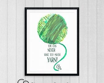 Printable Art • Watercolor Painting • Yarn Saying • Crochet Knit Weaving • Artwork • Wool Cotton • Nursery Office • Download