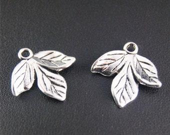 20pcs Antique Silver Branch Leaf Charms Pendant A2080